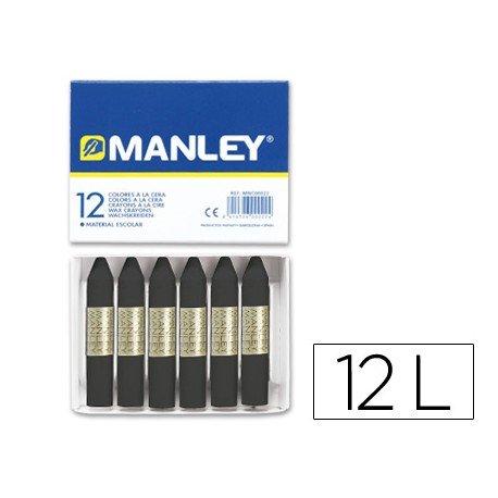 Lapices cera blanda Manley caja 12 unidades negro