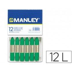 Lapices cera blanda Manley caja 12 unidades verde natural