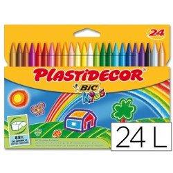 Lapices cera Plastidecor Caja 24 colores