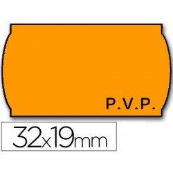 Rollo Etiquetas adhesivas Meto Precios color naranja 32 x 19