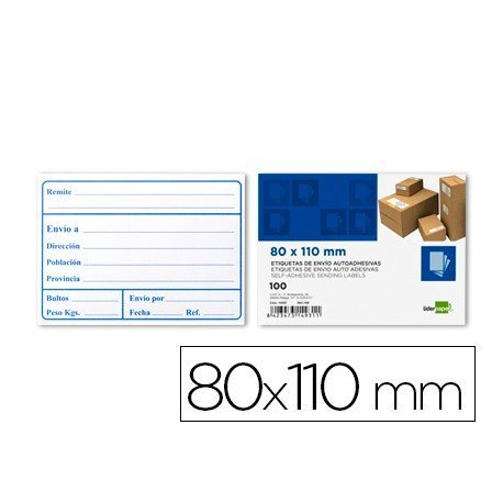 Etiquetas autoadhesivas de envio marca Liderpapel 80x110mm