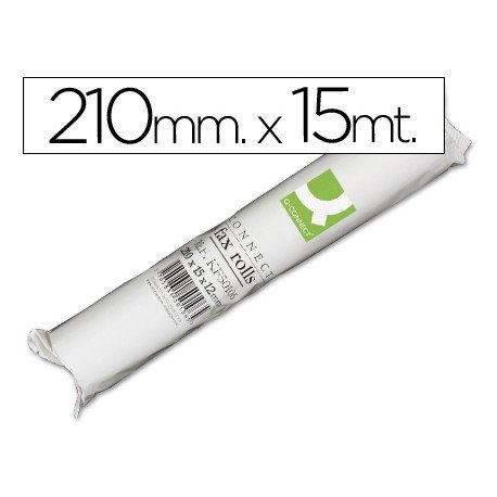 Rollo papel de fax Q-Connect 15m x 210mm.