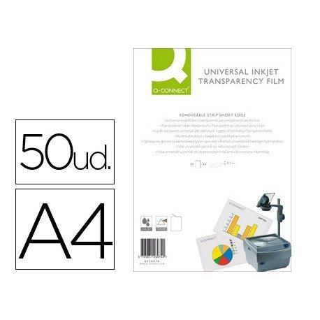 Transparencias Din A4 Q-Connect, válido impresoras ink-jet