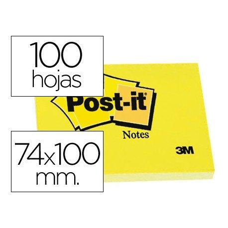 Post-it ® Bloc de notas adhesivas color amarillo quita y pon 74x100 mm