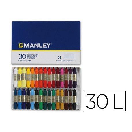 Lapices cera blanda Manley 30 unidades