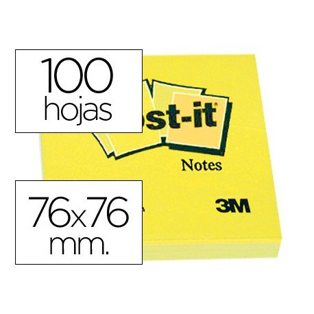 Post-it ® Bloc de notas adhesivas color amarillo quita y pon 76x76 mm