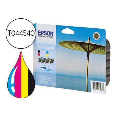 Cartucho Epson T0445401 colores negro amarillo cian y magenta XXL