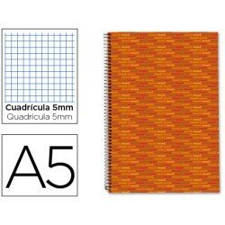 Bloc espiral Liderpapel Dina-A5 serie Multilider tapa forrada naranja