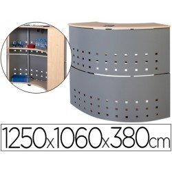 Mostrador de recepcion Rocada aluminio-haya 90 grados