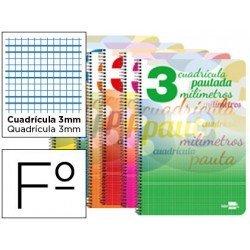 Bloc espiral marca liderpapel folio pautaguia tapa cartoncillo 80h80 g cuadriculado pautado 3mm con margen colores surtidos