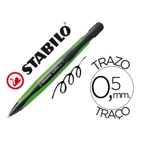 Boligrafo Stabilo com4 verde retractil 0,5mm tinta color azul