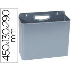 Papelera metalica de pared gris de 12 L
