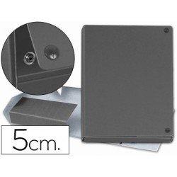 Carpeta proyectos carton forrado geltex lomo de 5 cm gris