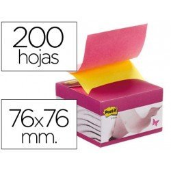Post-it ® Bloc de notas adhesivas color rosa y amarillo quita y pon con dispensador