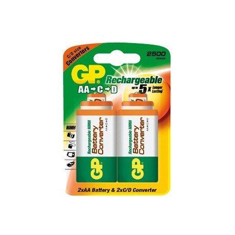 Pila GP recargable AA con adaptadores C y D