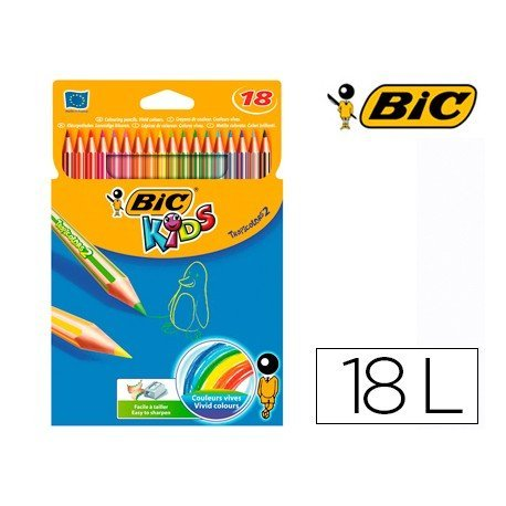 Lapices de colores Bic hexagonales mina gruesa 4 mm caja 18 unidades