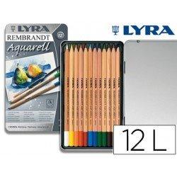 Lapices de colores Lyra acuarelables hexagonales mina gruesa 4 mm caja 12 unidades