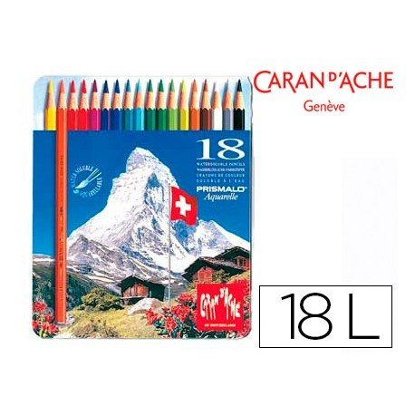 Lapices de colores Caran D´ache acuarelables hexagonales mina 3 mm caja 18 lapices