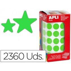 Gomets Apli estrella color verde tamaño surtido