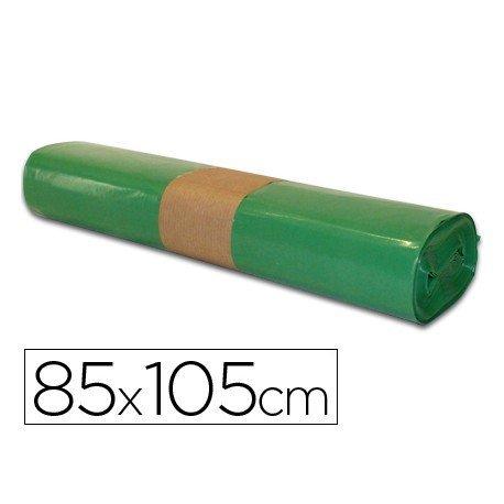 Bolsa basura verde 85x105cm uso industrial galga 110 rollo 10 unidades
