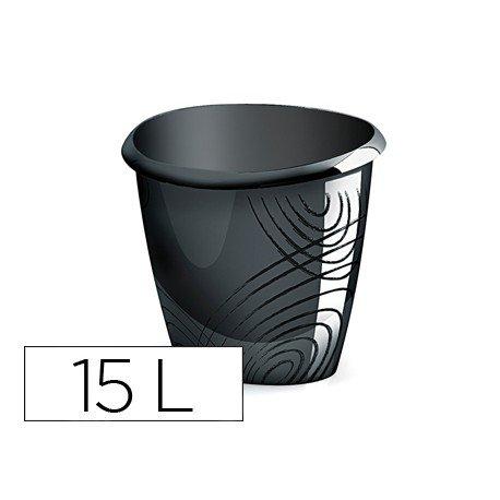 Papelera plastico Cep negro 15 de litros