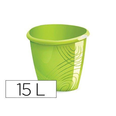 Papelera plastico Cep verde de 15 litros