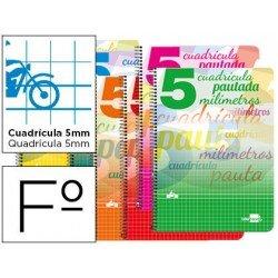 Bloc espiral marca liderpapel folio pautaguia tapa cartoncillo 80h80 g cuadriculado pautado 5 mmcon margen colores surtidos