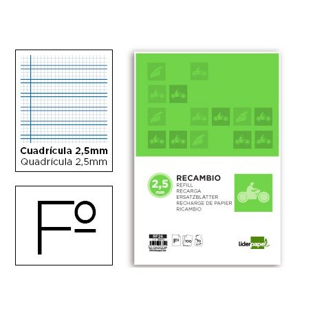 Recambio Liderpapel folio cuadriculado pautado 2,5mm