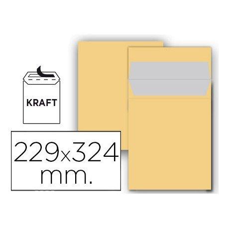 Sobre bolsa Liderpapel C4 Kraft 229 X 324 mm Caja 25