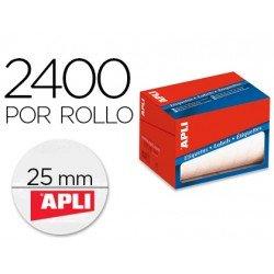 Etiqueta adhesiva marca Apli 1674 25 mm redondas rollo de 2400 unidades blancas