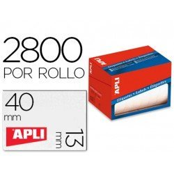 Etiqueta adhesiva marca Apli 1681 13x40 mm redondas rollo de 2800 unidades blancas