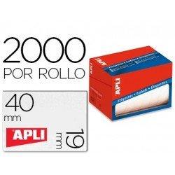 Etiqueta adhesiva marca Apli 1685 19x40 mm redondas rollo de 2000 unidades blancas