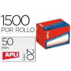 Etiqueta adhesiva marca Apli 1686 20x50 mm redondas rollo de 1500 unidades blancas