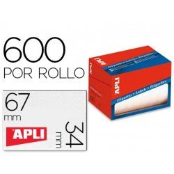 Etiqueta adhesiva marca Apli 1685 34x67 mm redondas rollo de 600 unidades blancas