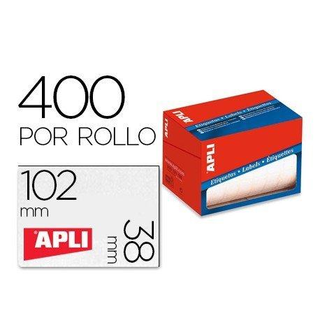 Etiqueta adhesiva marca Apli 1698 38x102 mm redondas rollo de 400 unidades blancas