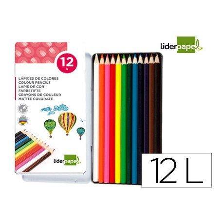 Lapices de colores Liderpapel hexagonal caja metalica 12 colores