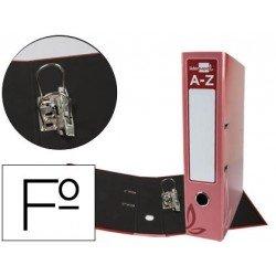 Archivador de palanca Liderpapel folio carton forrado rado rojo lomo 75mm