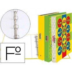 Carpeta Liderpapel 4 anillas 25 mm redondas carton forrado folio fantasia cool transports