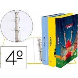 Carpeta Liderpapel 4 anillas 25 mm redondas carton forrado cuarto fantasia sport stars