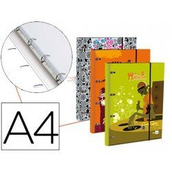 Carpeta Liderpapel din a4 forrada con recambio 70gr 5mm 4 anillas redondas 20mm fantasia teen monsters