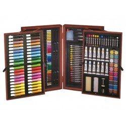 Estuche pintura marca Lidercolor madera maletin deluxe 178 piezas
