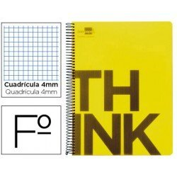 Bloc Folio Liderpapel serie Think cuadricula de 4 mm amarillo