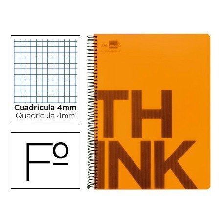 Bloc Folio Liderpapel serie Think cuadricula de 4 mm naranja