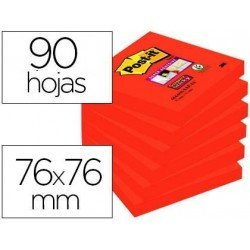 Bloc de Post-it ® 76 x 76 mm color rojo 90 hojas