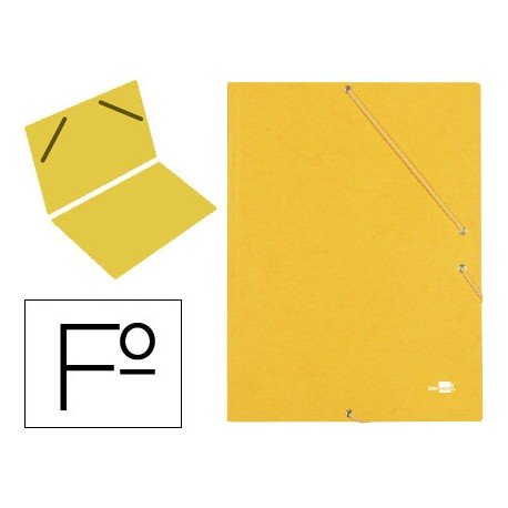 Carpeta gomas Liderpapel Folio color amarilla
