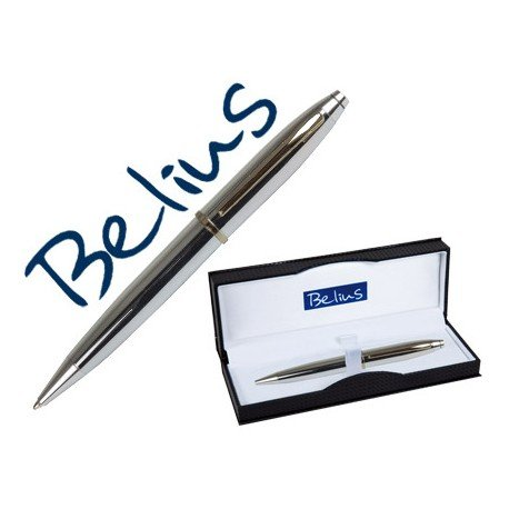 Boligrafo marca Belius Macerata plata estuche