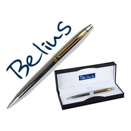 Boligrafo marca Belius macerata Trazo 1 mm Plata oro estuche