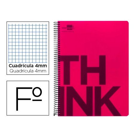 Bloc Folio Liderpapel serie Think cuadricula de 4 mm rojo