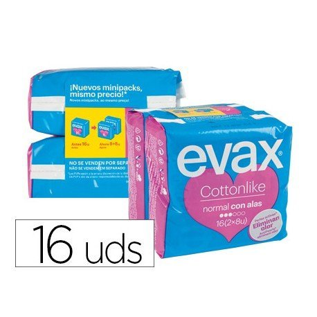 Compresas ultra normal marca Evax con alas