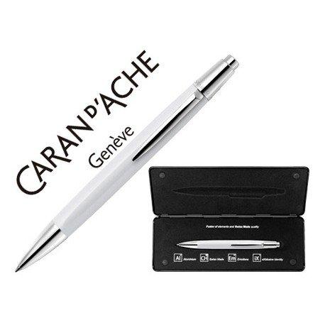 Boligrafo marca Caran d'ache Alchemix lacado blanco estuche